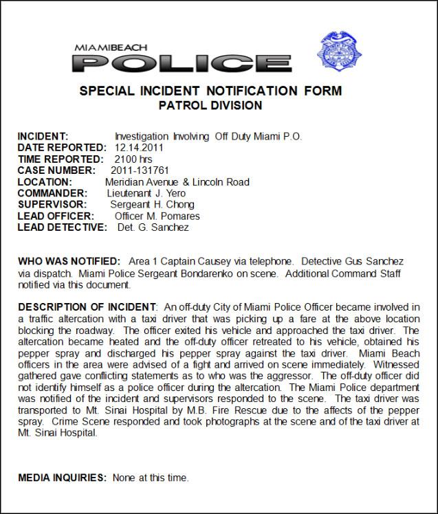 special incident report