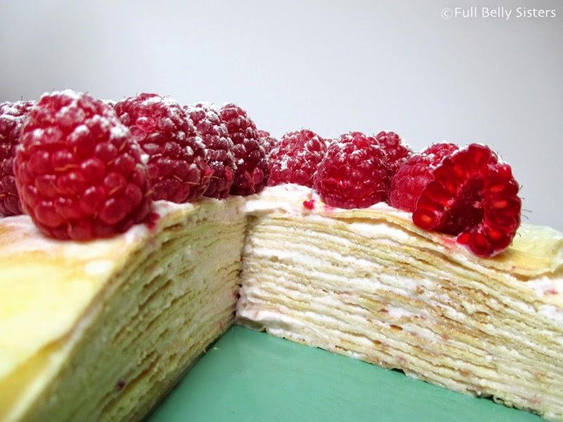 Lemon Raspberry Crepe Cake