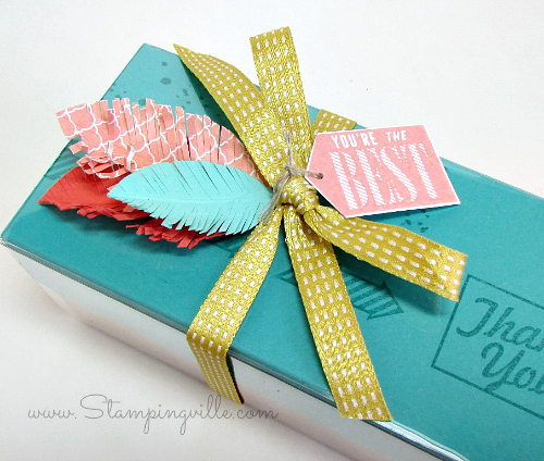 Easy gift box with ribbon and paper feathers