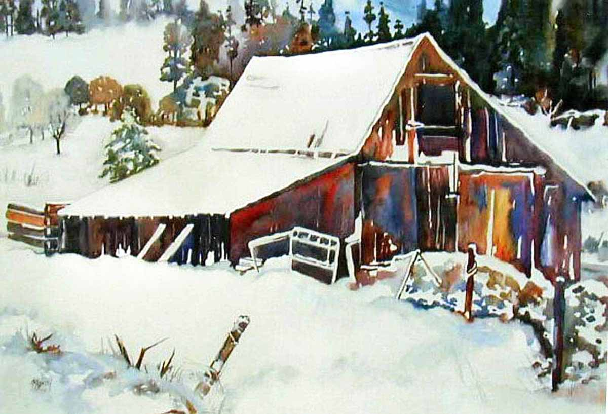 Kaysmithbrushworks wintry barn for Watercolor barn paintings