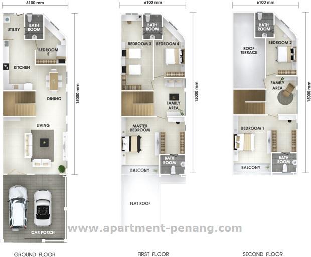 Shineville villas apartment for Terrace 9 penang