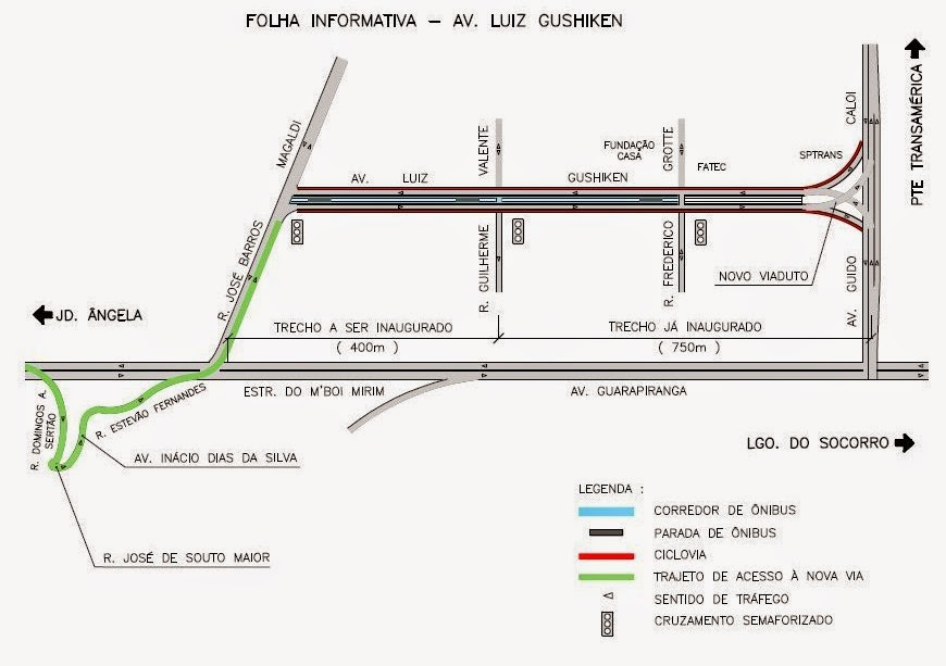 Corredor exclusivo à esquerda para ônibus - Avenida Luiz Gushiken
