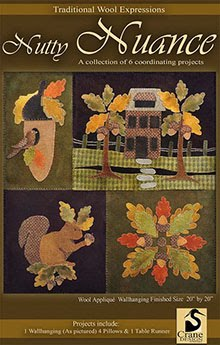 "Nutty Nuance Wool Applique Wallhanging or Ind. Pillows 20"" x 20"""