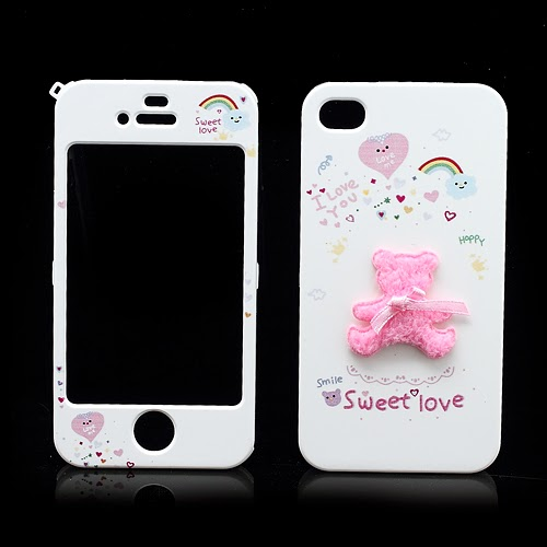 Happymori Sweet Love : Front & Back Snap-On Hard Case for iPhone 4 4S