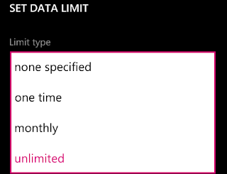 data limit options on data sense app