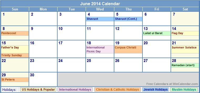 Calendar June 2014 : June calendar printable with holidays