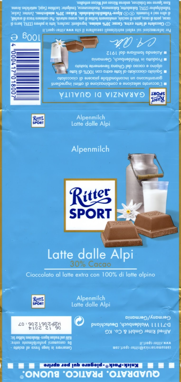 Ritter Sport Lait des Alpes version Italienne Ritter Sport Latte dalle Alpi