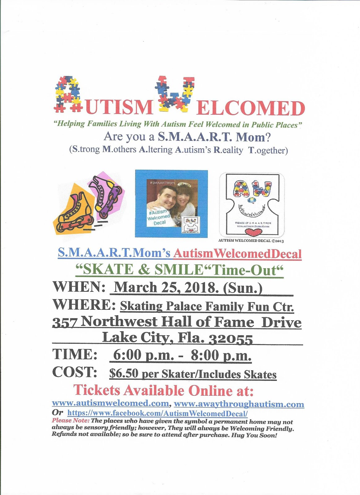 "Autism Welcomed Decal (March 25) Time-Out&Test-Drive""Skate & Smile"" Time-Out in Lake City,FL!"
