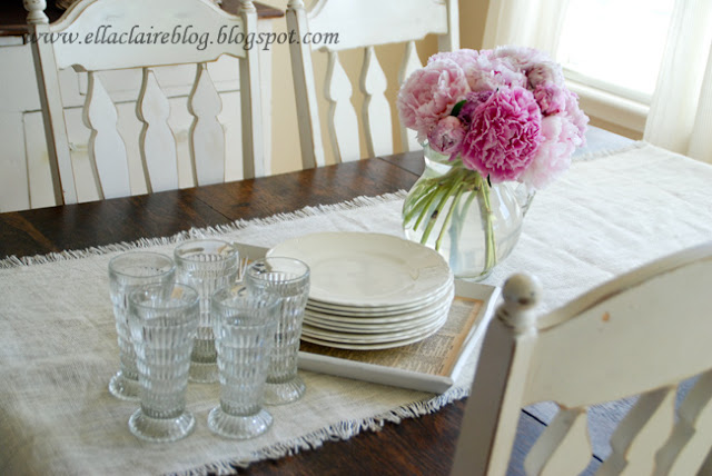 Ella Claire}: Tutorial: Pottery Barn Burlap Table Runner with ...