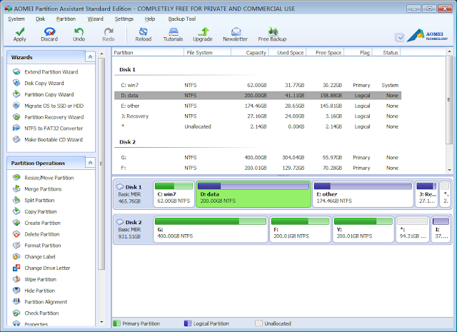 AOMEI Partition Assistant Standard 5.2 Free - Main Interface