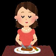 行儀の良い食事のイラスト(テーブルマナー)