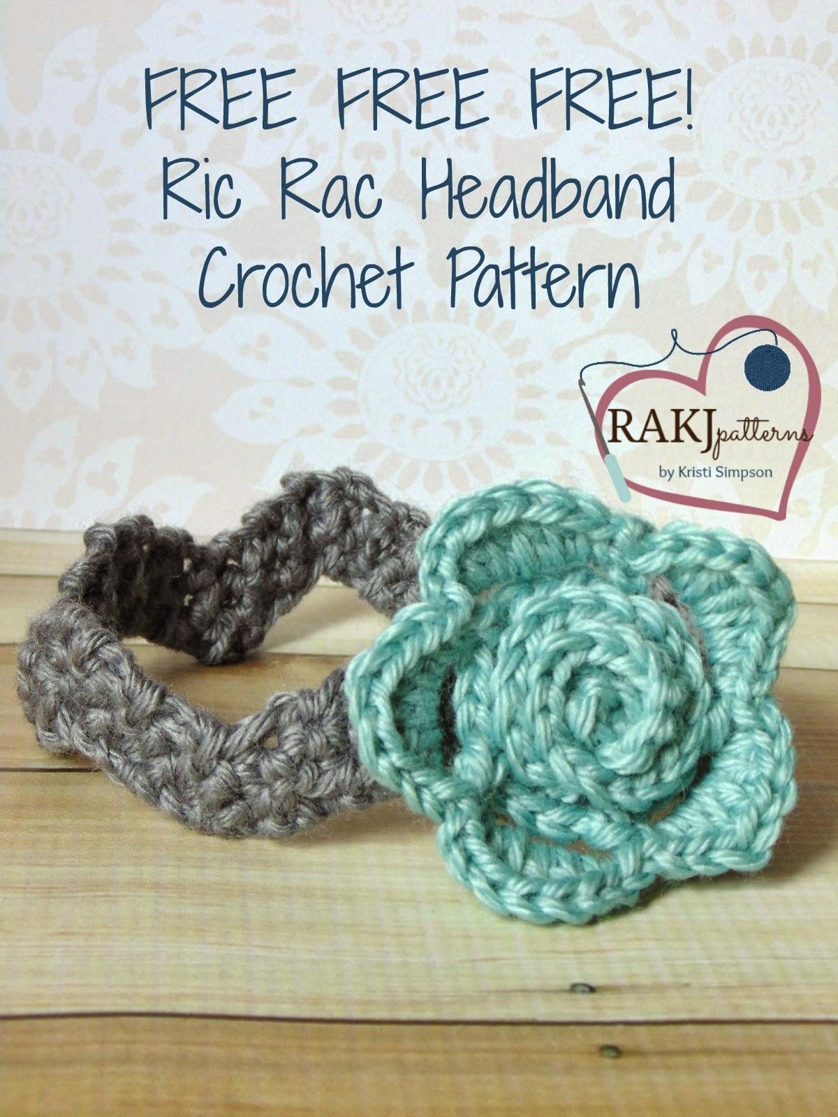 www.RAKJpatterns.com, ric rac headband, crochet pattern, FREE crochet pattern