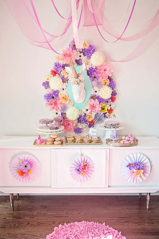 This whimsical dessert table  is a fanciful #unicorn paradise. (images by Natalie Spencer via on to baby) | Sweet Tooth