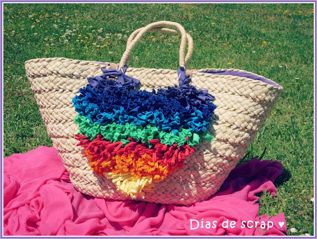 diy Capazo de playa con trapillo multicolor para el reto pinterest de Scarlata y el señor don gato