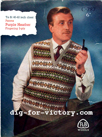 The Vintage Pattern Files: 1940's Knitting - Mens Fair Isle Pullover