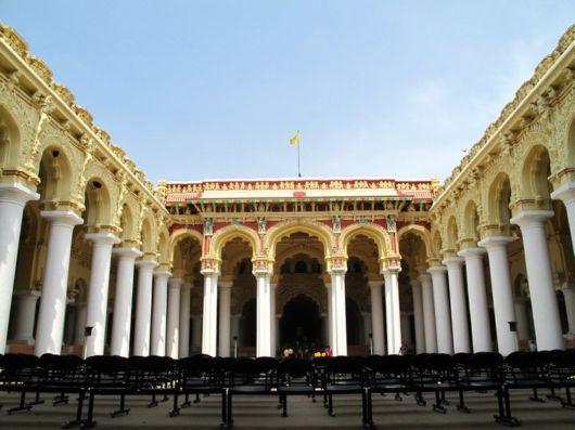 Thirumalai Nayak Palace, inner courtyard, Madurai,Tamil Nadu