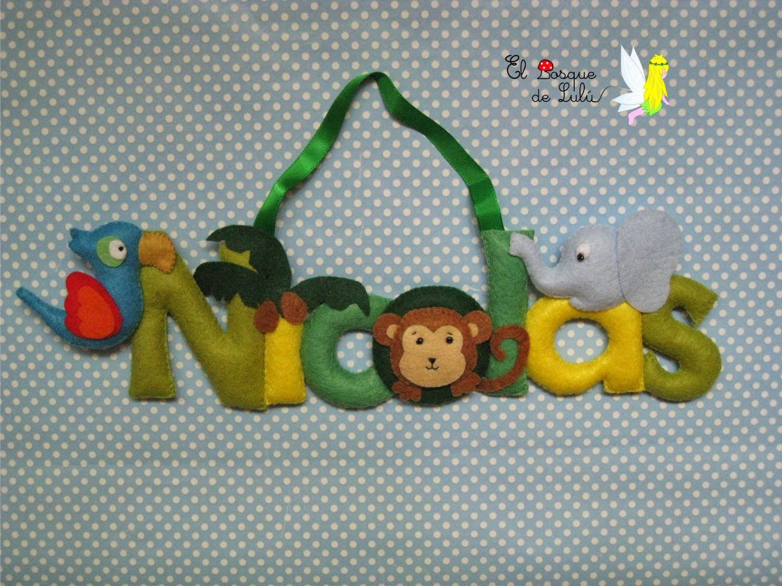 nombre-decorativo-fieltro-nicolas-animales-selva-detalle-nacimiento-infantil
