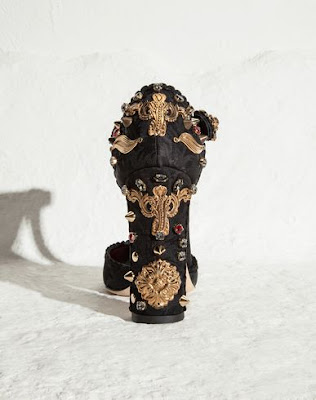 Dolce and Gabbana Black t-strap embellished block heels