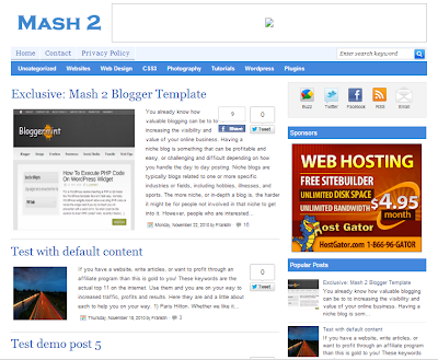 Mash 2 Blogger Template Fast Loading BLogge Template