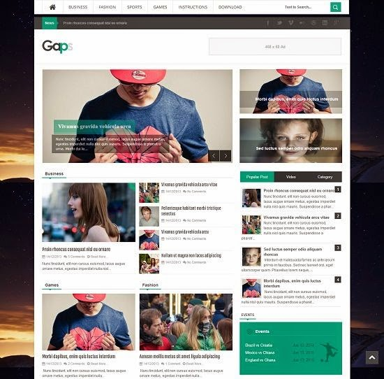 Gaps - Magazine Responsive Blogger Template