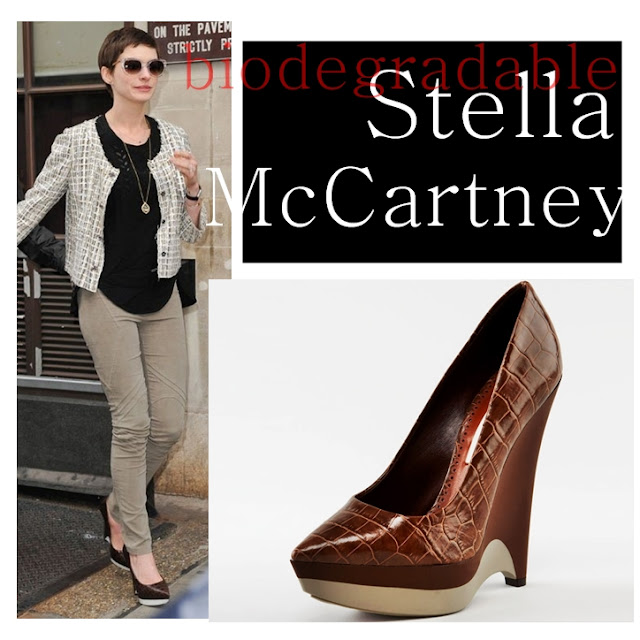 Anne Hathaway wearing Stella McCartney Biodegradable wedges