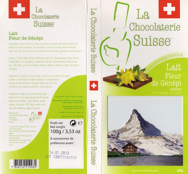 tablette de chocolat lait gourmand la chocolaterie suisse lait fleur de génépi