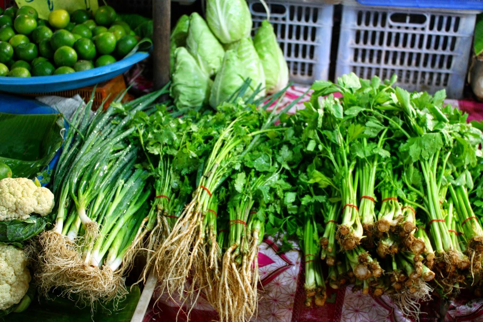 frische Kräuter Markt Laos