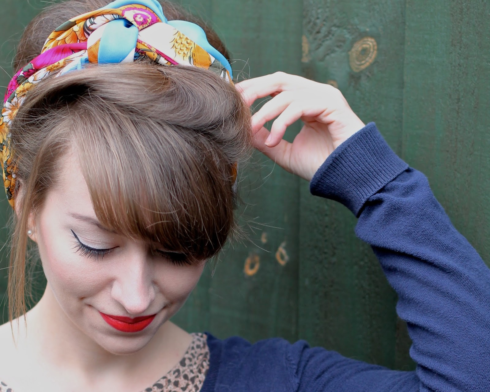 Colourful vintage headscarf