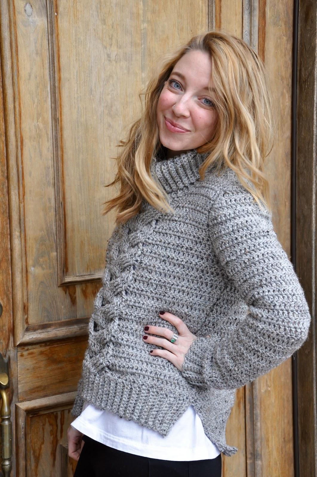 Sans Limites Crochet: Cable Turtleneck Sweater! Finally! A New ...