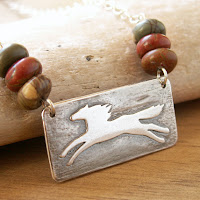 unique horse necklace handmade in recycled fine silver with jasper stone beads