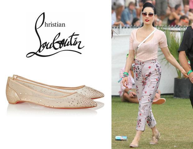 Dita Von Teese wearing Christian Louboutin 'Body Strass' embellished mesh point-toe flats