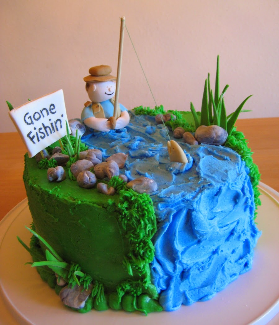 Birthday cake pictures fishing cakes men for Fishing cake ideas