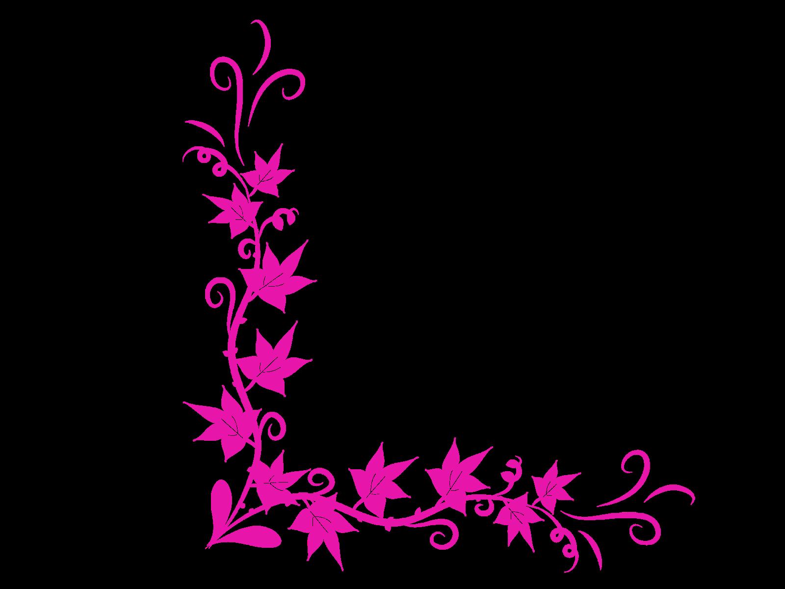 Pink butterfly corner border