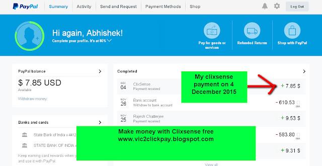 Clixsense se mujhe 4 December 2015 ko $7.85 (approx 496 rupees) ka payment mila-see screenshot