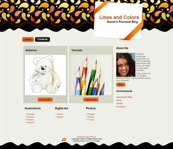 Lines and Colors - Free Wordpress Theme