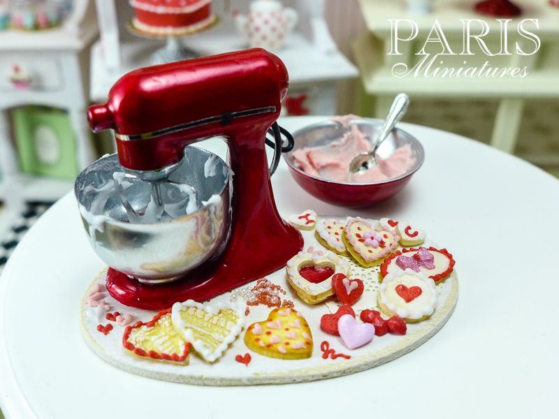 Miniature food - making valentine cookies with mixer
