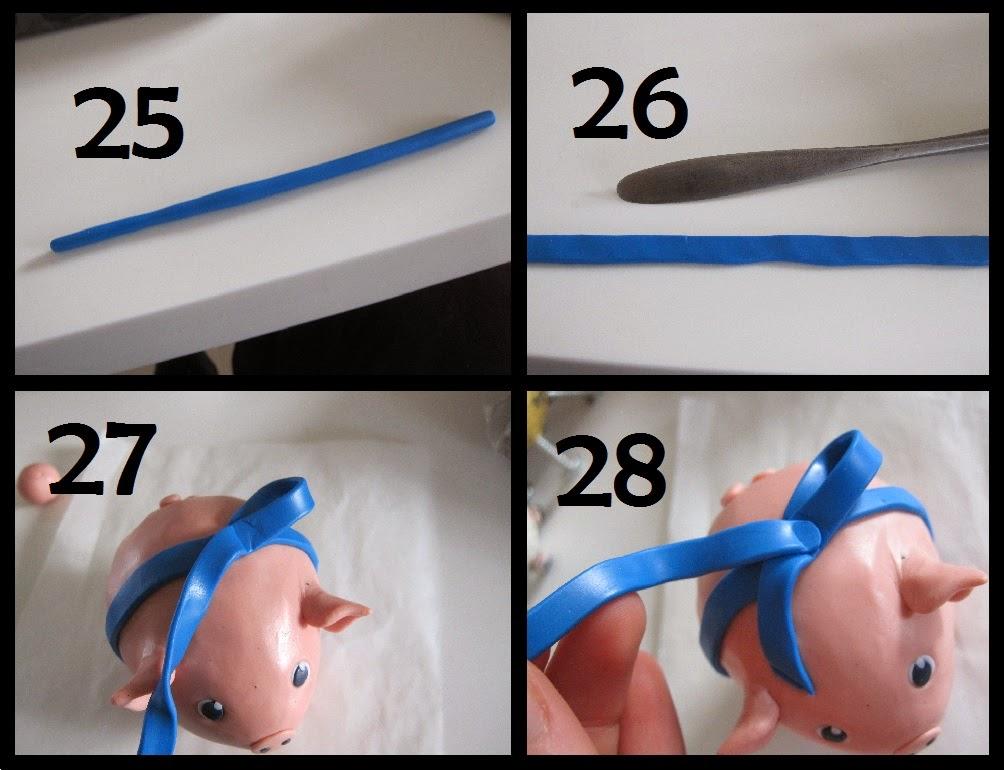 diy, cernit gris jule pynt, blå sløjfe, babyblå fimo ler polymer clay, blå sløjfe
