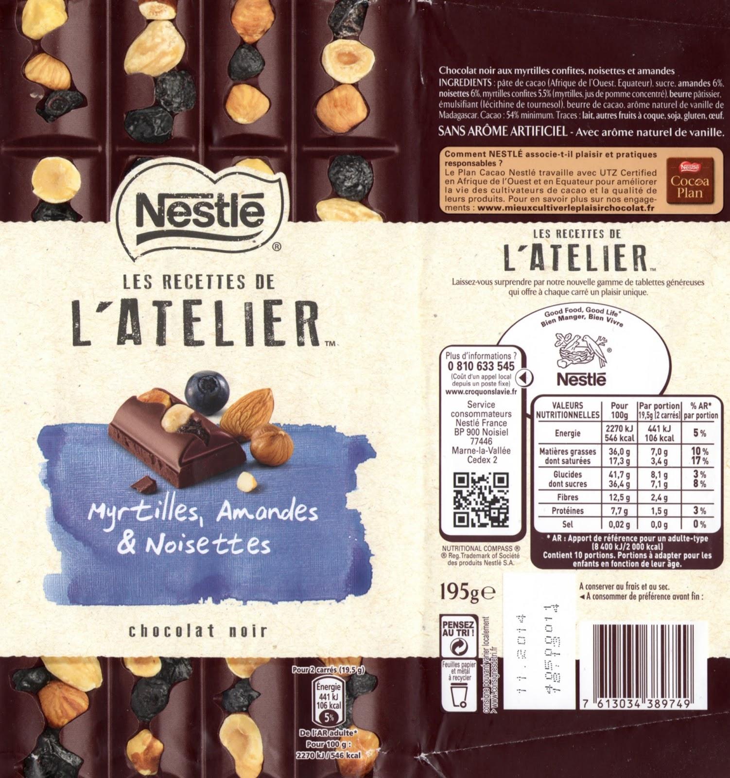 tablette de chocolat noir gourmand nestlé les recettes de l'atelier myrtilles amandes & noisettes