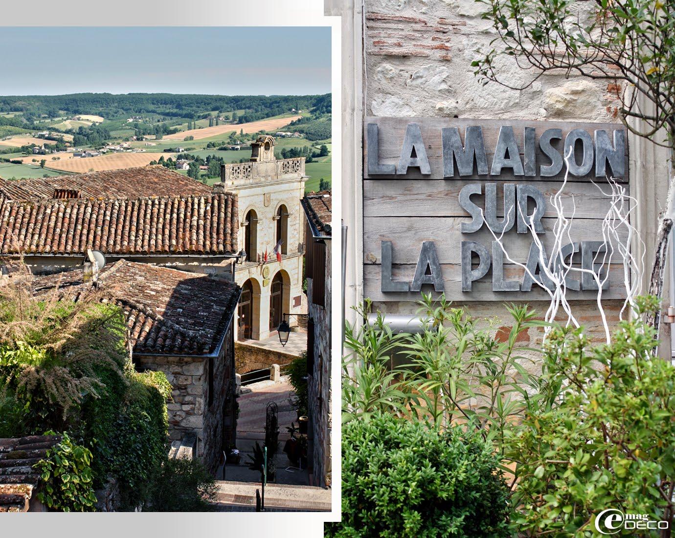Le village de Penne-d'Agenais avec vue sur la vallée, enseigne à l'entrée du restaurant de Geneviève Cazottes : 'La Maison sur la Place'