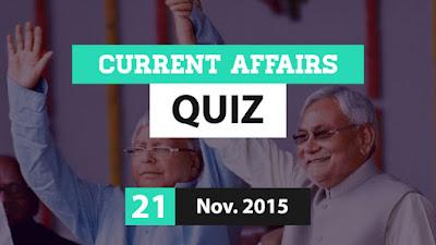 Current Affairs Quiz 21 November 2015