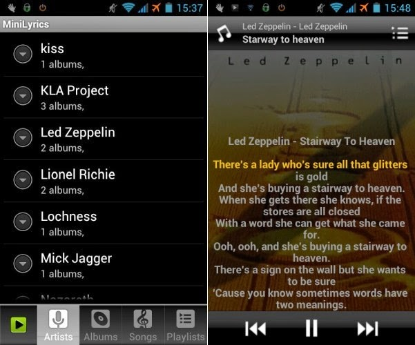 Menampilkan Lirik Lagu di Android