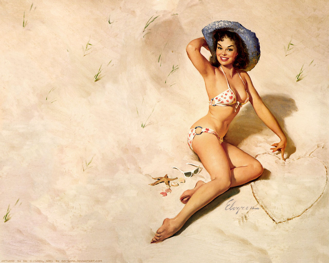 Japan Pin Up Art http://thepinupart.blogspot.com/2012/08/beach-pin-up.html