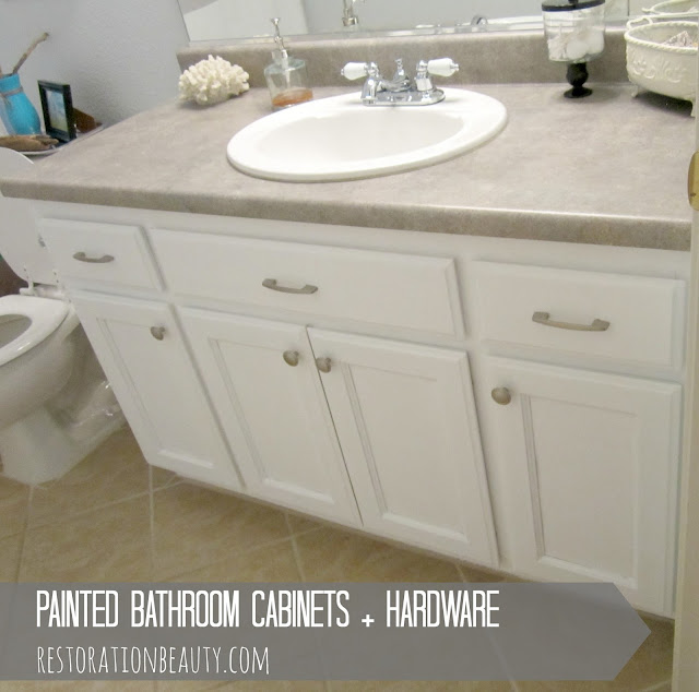 Wonderful Painted Bathroom Cabinets Hardware
