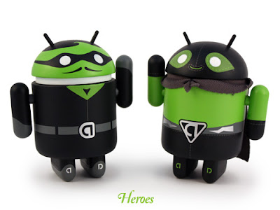 San Diego Comic-Con 2011 Exclusive Heroes & Villains Android Vinyl Figures by Andrew Bell - Heroes The Hidden Task & El Poderoso