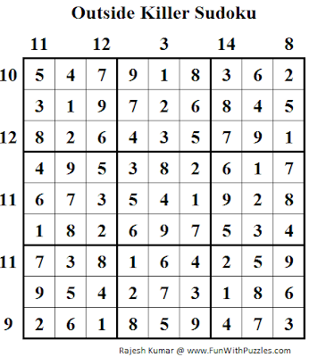 Outside Killer Sudoku (Daily Sudoku League #98) Solution