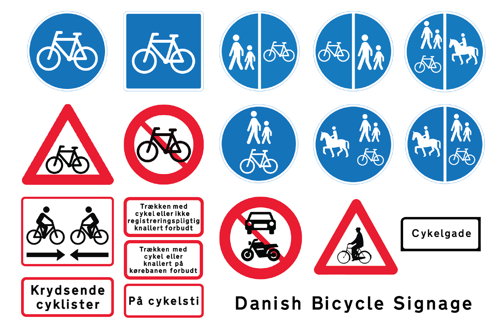 com bicycle culture by design designing bicycle above are all the traffic signs in relating to cycling at bottom left is the signage for bi directional cycle tracks which you don t see often for