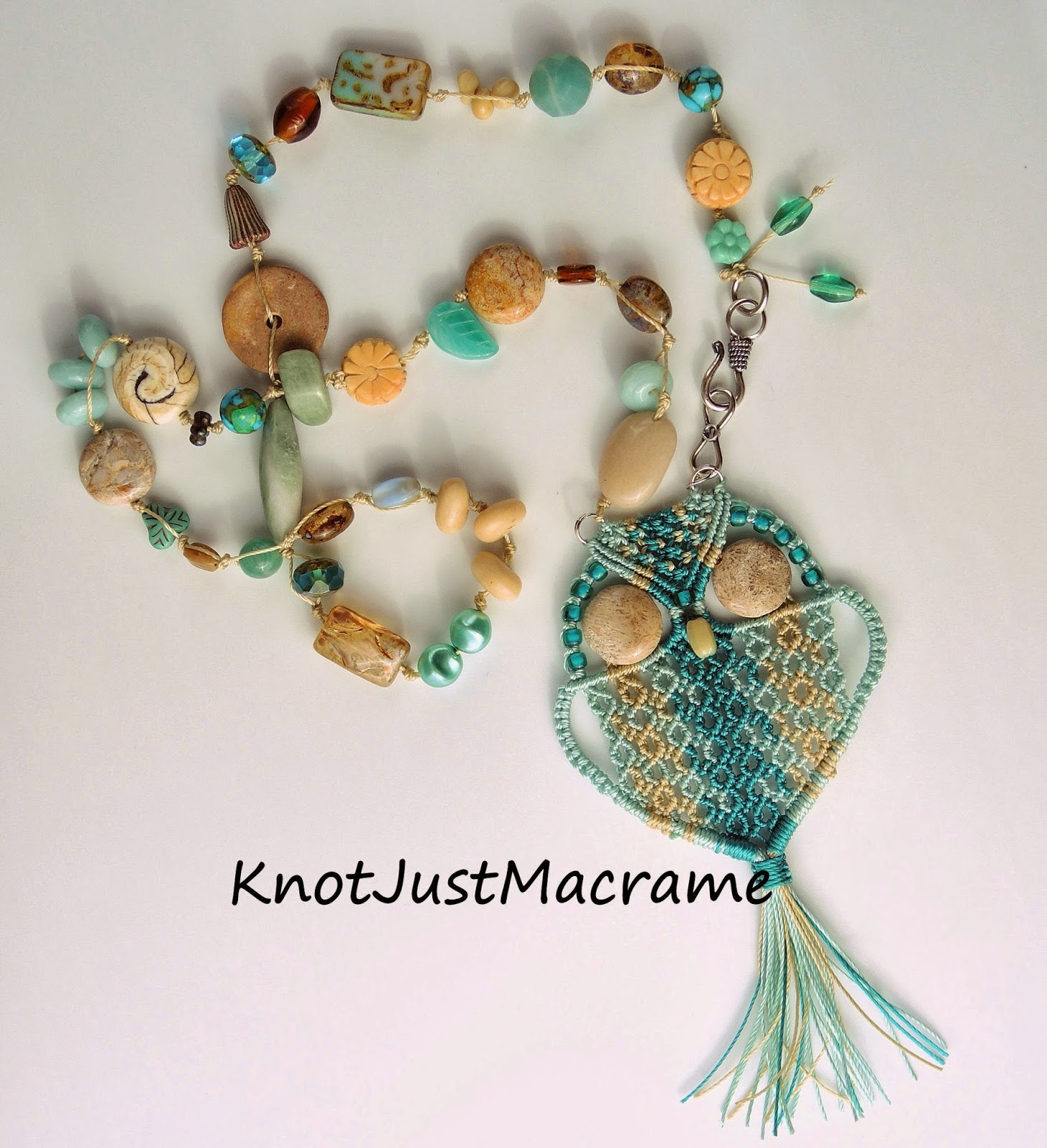 Micro macrame owl necklace with eclectic beads
