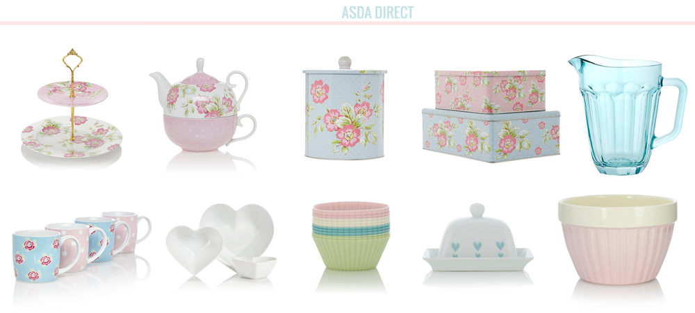 home bloggers, home, home wishlist, wishlist asda george home floral ditsy pastel pink blue kitchenware baking equipment, biscuit tins, mugs