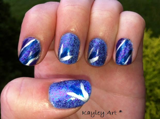 kayley's nail art blue and purple