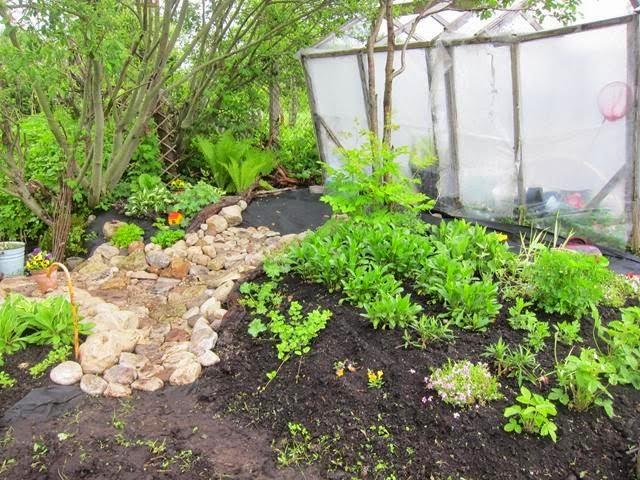 садовая дорожка из камня, своими руками, каменный настил, булыжники, дорожка в саду, спанбонд, агротекс